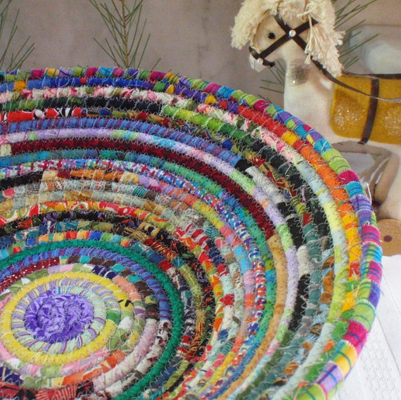 Coiled Basket – Gypsy LARGE – Organizer, Storage, Bohemian Handmade Basket, Colorful by YellowViolet
