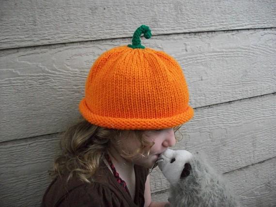 Baby-child Pumpkin Photo Prop halloween orange fall green stem autumn kids nature harvest vegan unisex boy girl by ELSLOW5