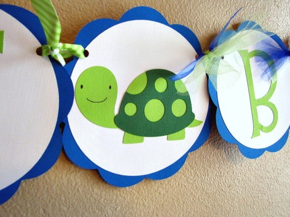 Turtle Party Banner, Turtle Birthday Banner, Turtle Shower Banner, Turtle 1st Birthday Party Banner, Baby Shower Banner, Turtle Banner by ScrapYourStory