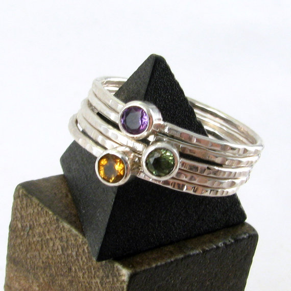 Gemstone Stacking Stackable Rings Set of? You Choose – Custom Jewelry – Your Stone Choice – Personalized Birthstone Jewelry – Mothers Rings by JessicaCoxJewelry