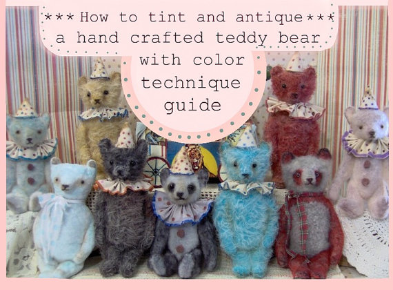How To Tint and Hand Dye a Mohair Bear Tutorial With Color Wash Technique E Pattern Guide by SReetzBears