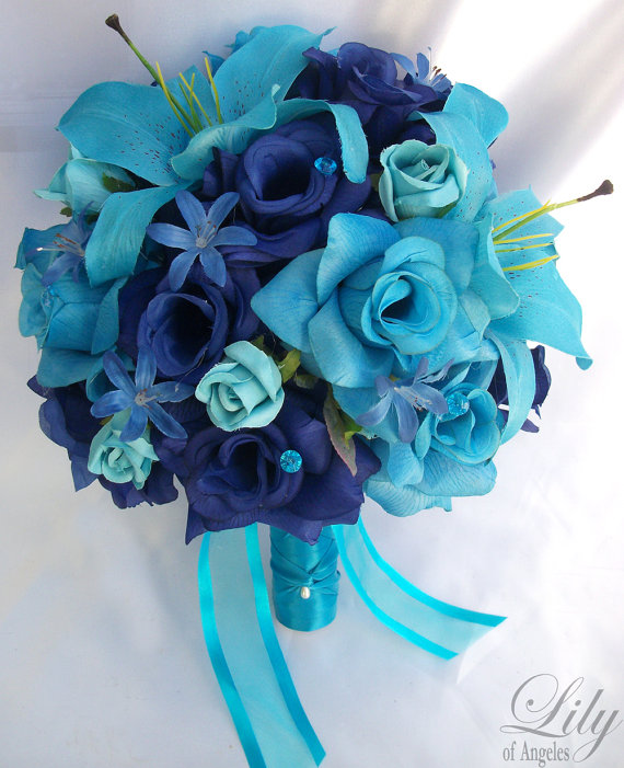 17 Piece Package Wedding Bridal Bride Maid Of Honor Bridesmaid Bouquet Boutonniere Corsage Silk Flower TURQUOISE BLUE MALIBU Lily of Angeles by LilyOfAngeles