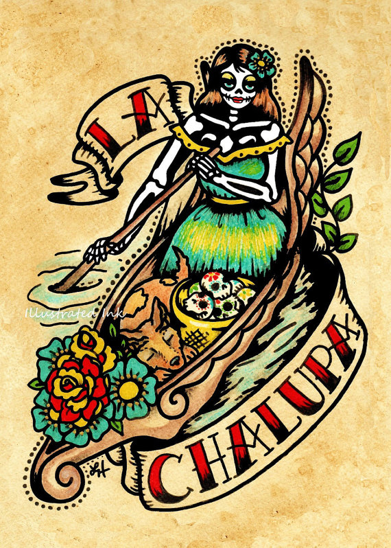 Day of the Dead Tattoo Art LA CHALUPA Loteria Print 5 x 7, 8 x 10 or 11 x 14 by illustratedink