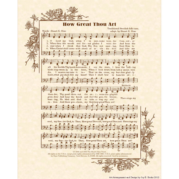 HOW GREAT THOU Art - Hymn Art - Custom Christian Home Decor - VintageVerses Sheet Music - Inspirational Wall Art - Sepia - Natural Parchment by VintageVerses
