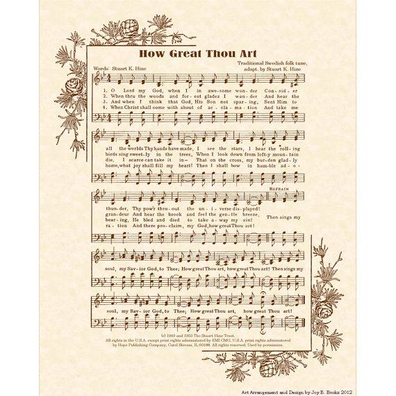 HOW GREAT THOU Art - Hymn Art - Custom Christian Home Decor - VintageVerses Sheet Music - Inspirational Wall Art - Sepia - Natural Parchment by VintageVerses
