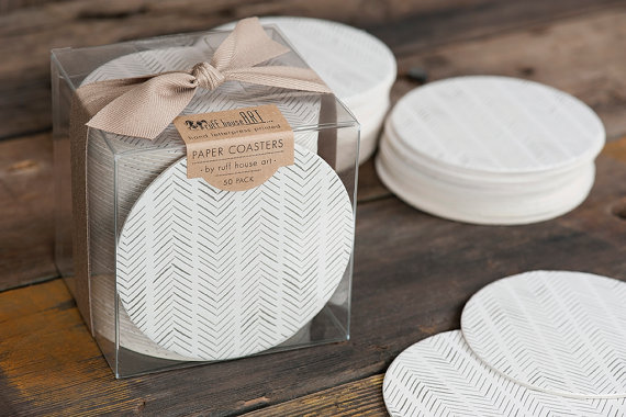 Bulk Coaster Boxed Set - Chevron Herringbone Wedding Coasters - Letterpress Paper Wedding Event Shower Favor Gift Bar Accessory by ruffhouseart