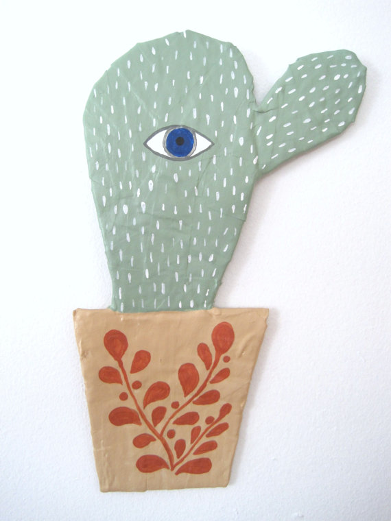 Cact-eye Papier Mache Wall Art by jikits  sc 1 st  DIY #Crafts #Recipes & Cact-eye Papier Mache Wall Art by jikits | #DIY #Crafts #Recipes