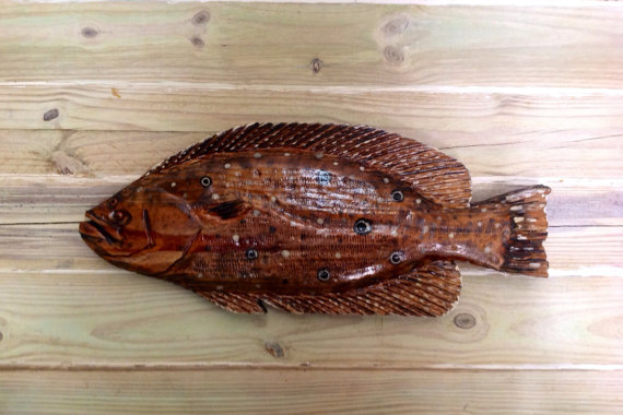 Flounder 24 & quot; wooden chainsaw carving fish sculpture seaside indoor outdoor fluke wall mount fishing rustic home decor by oceanarts10