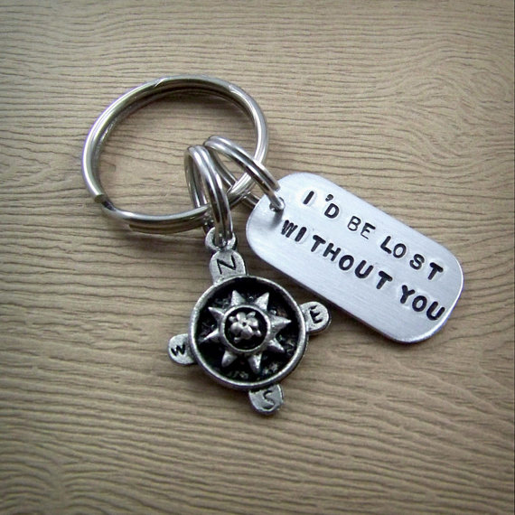 I D Be Lost Without You Handstamped Comp Keychain Love Gifts