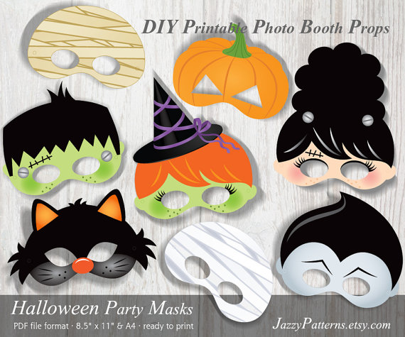 DIY Halloween Party printable masks photo booth props PP007 instant download kids masks by JazzyPatterns
