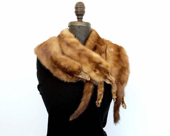Vintage Mink Stole / Full Mink Scarf / Fur Scarf Four Mink Pelts Vintage Glamor by ConceptFurnishings