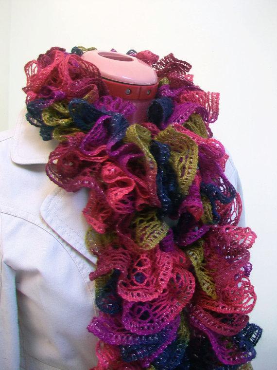 On Sale Ribbon Yarn Ruffel Scarf, Fashion Scarf, Dark Jewel Tone Ruffled Scarf by HandmadebyTinaB
