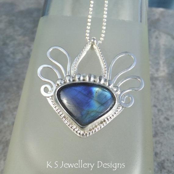 Labradorite Sterling Silver Pendant – DECORATIVE HEADDRESS – Handmade Metalwork Wirework Gemstone Statement Jewelry by KSJewelleryDesigns