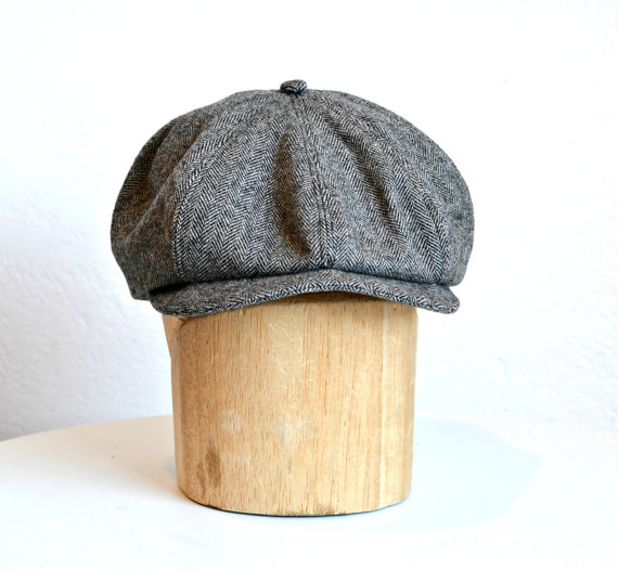 Men's Newsboy Hat in Vintage Black and White Herringbone Wool – MADE TO ORDER by HatsWithAPast