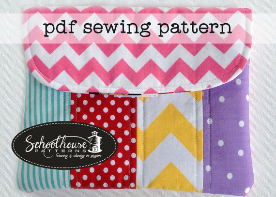 eclutch sewing pattern - sleeve case with pocket - Fits iPad, iPad mini and Kindle Fire - PDF INSTANT DOWNLOAD by SchoolhousePatterns