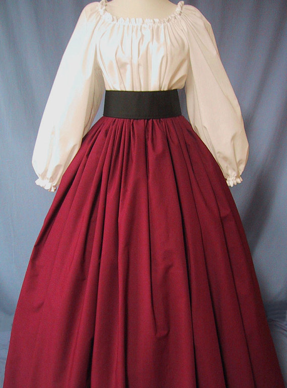 Long Skirt for Costume in Burgundy - RenFaire Costume - Pirate Wench - Renaissance Faire - Dickens - Civil War Reenactment - Handmade by stitchintimedesigns