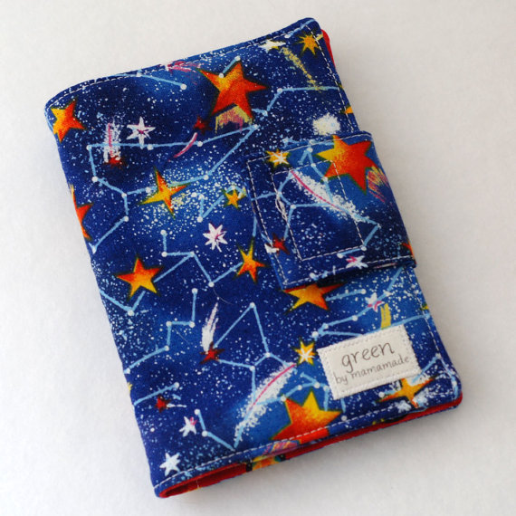 Constellations - Mini Crayon Case and Art Portfolio- Includes Crayola Crayons and 100-sheet Paper Pad. by mamamade