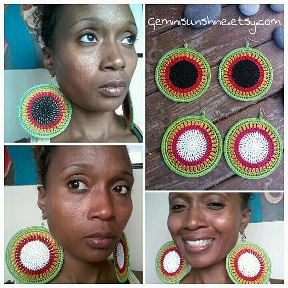 Mama Africa Crochet Earrings by Geminisunshine