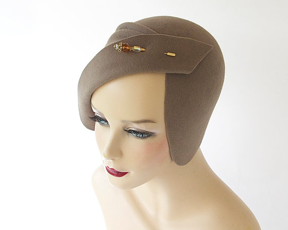 Felt Cloche Hat- Fall Fashion- Spring Accessory- Great Gatsby- Women- Flapper Hat- Hand Draped Hat- 1920s Cloche Hat- Fall Hat- Evening Hat by KatarinaHats