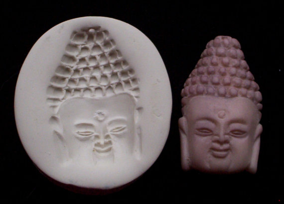 Buddha Head – Face CNS polymer clay hard mold by CrowsNestStudio