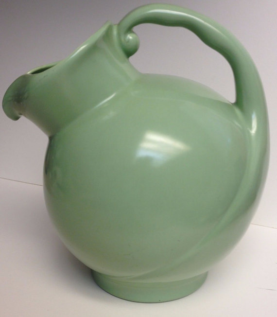 Vintage Metlox Mission Bell Ball Pitcher Calif Pottery P621 Ice Lip 1942 Green by Vintageworks
