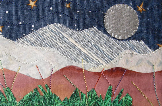 Fabric Postcard, Moon and Stars Quilted Fabric Postcard, Landscape Mountain Postcard, Fiber Art, Greeting Card, Romantic Night by SewUpscale