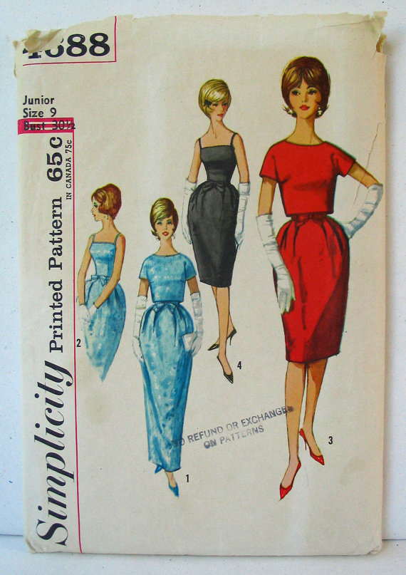 Simplicity 4688 60s Junior's Spaghetti Strap Cocktail Dress Tulip Skirt and Bow at Waist, Button Back Jacket Bust 30-1 / 2 & quot; by PassingFair