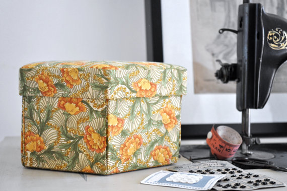 Hexagonal Hand Made Sewing Box - Fabric Covered Cartonnage - Arts and Crafts by tialys