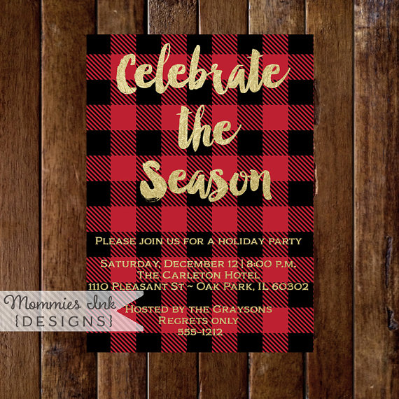 Buffalo Plaid Christmas Party Invitation, Buffalo Check Christmas Invite, Red and Black Holiday Invitation, Celebrate the Season Invite by MommiesInk