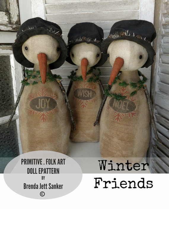 EPATTERN primitive folk art Snow Folk by brendasanker