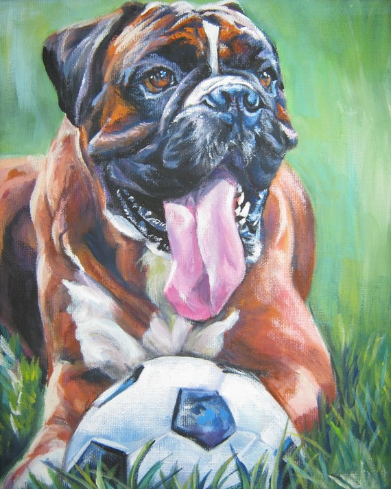Boxer dog art CANVAS print of LA Shepard painting 8×10 by TheDogLover