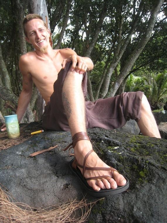 Mens Maori Sandal / Handmade Bullhide Leather Men Flat Minimalist Hippie Jesus Medieval Ren Fest Renaissance Roman Hobbit Festival Barefoot by TreadLightGear