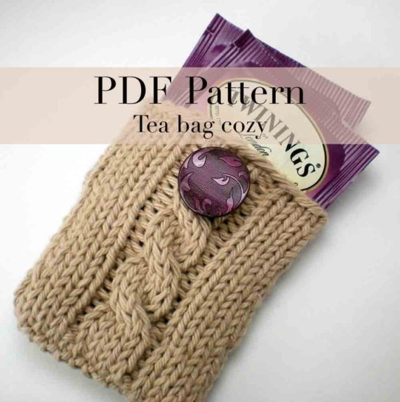 PDF Knitting Pattern - Tea Bag Holder (with permission to sell finished item) by onaroll