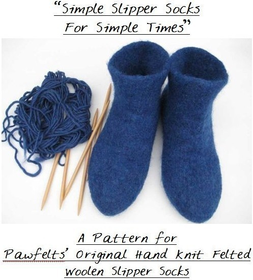 Felted DIY Knit Slipper Socks Pattern PDF Tutorial - Instant Download by pawfelts