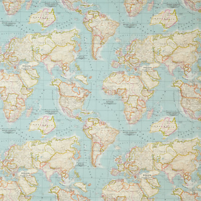 world map fabric – map fabric – world fabric – blue fabric – half