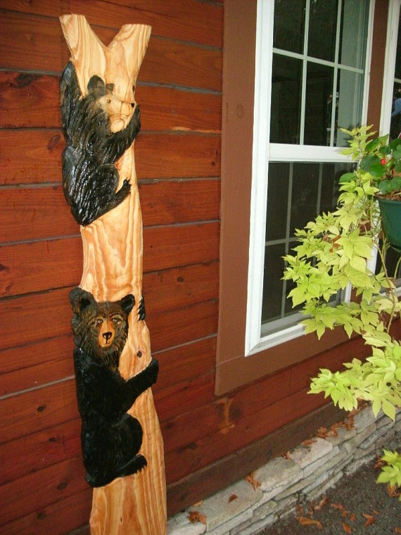 Two Black Bears in tree 68 & quot; primitive chainsaw wood carved country living wildlife collectible rustic indoor / outdoor mount or stand art by oceanarts10