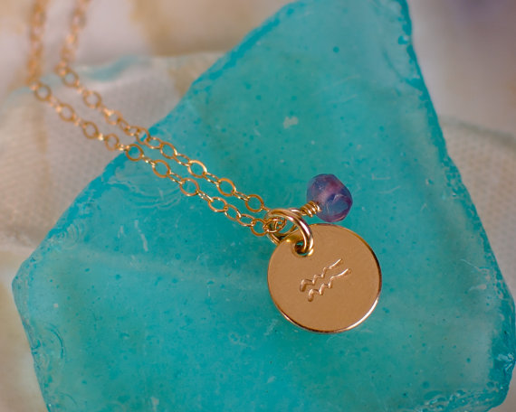 Aquarius Necklace – small gold Aquarius Zodiac Pendant on 14k Gold Filled Chain with Amethyst or CHOOSE GEMSTONE – Tiny Dainty by AnoushkaDesigns