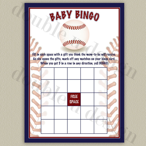 INSTANT DOWNLOAD - Baseball Baby Bingo - Baby Shower Game - Printable DIY by doubleudesign