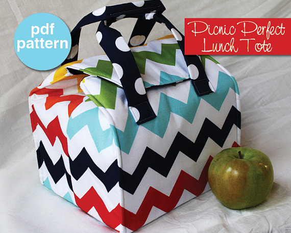 Picnic Perfect Lunch Tote – PDF Sewing Pattern – Bento Box Carrier by binskistudio