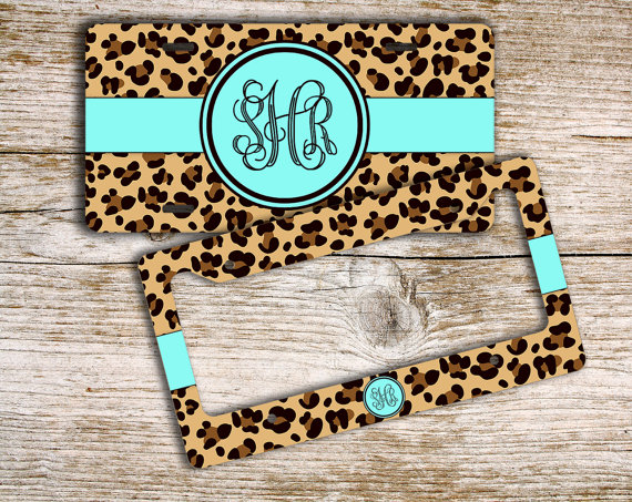 Unique gift for teenage girls, Cute license plate or frame, Monogram car tag, Car window decal or Bicycle license plate Cheetah blue (9959) by ToGildTheLily