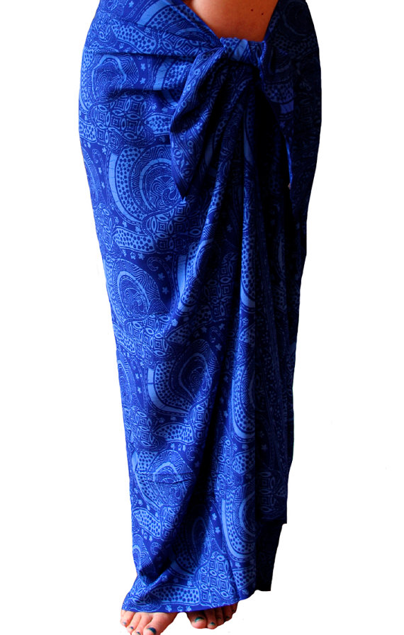 Batik Sarong Pareo Wrap Women's Beach Clothing Sarong Cover Up Beach Sarong Indigo Blue Swimsuit Coverup Long Sarong Womens Swimwear - Gift by PuaWear