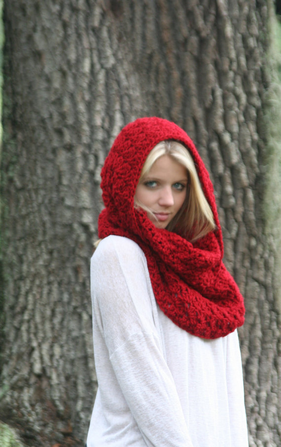 Cowl Scarf Snood Crochet Shawl Hood Scarf THE IVERSON Cranberry by crochetgallery