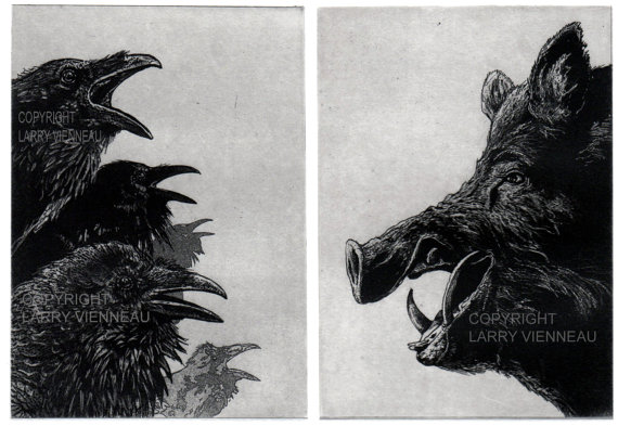 Raven artwork, Raven, crow, ANGRY BIRDS-, Etching, 7 inch x 10 inch 2012 by RAVENSTAMPS