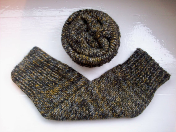 Chunky leg warmers, wider fit, wool alpaca mix, grey marl, unisex, warm, man's gift by SpinningStreak