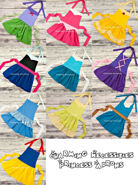 Girls Princess Apron Pretend Play Dress Up Baking, Inspired by Cinderella Snow White Elsa Anna Rapunzel Aurora Belle Tiana Ariel Merida by CharmingNecessities