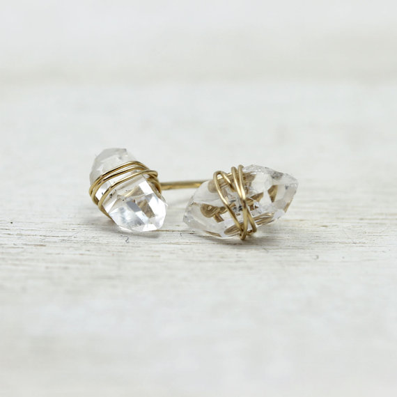 Gold wrapped mini herkimer diamond stud earrings by LotusStone