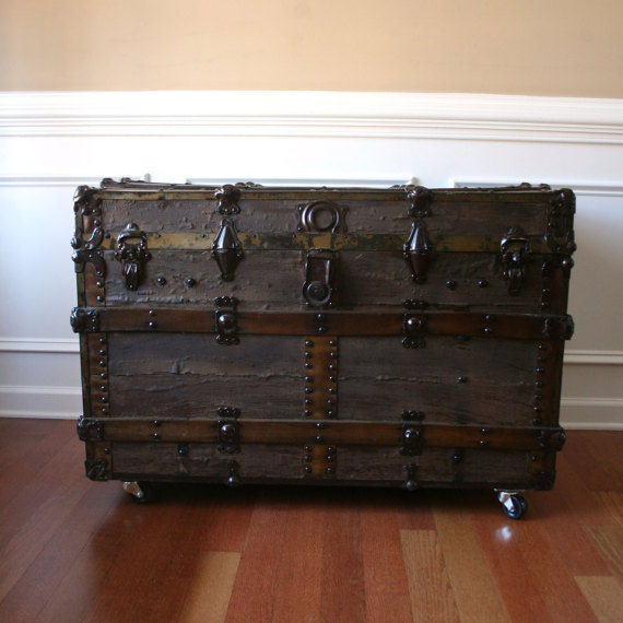 Antique Steamer Trunk. Industrial Fall Home Decor. Coffee Table. Flat Top. Wood. Canvas. Leather. Metal. Sofa Table. Bedside. Vintage Trunk. by RhapsodyAttic