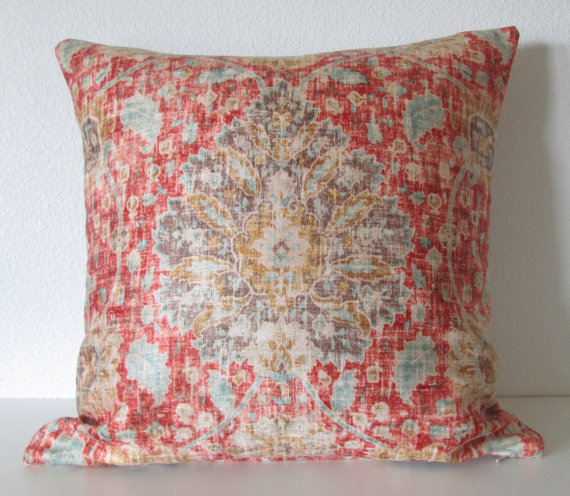 Ethan Allen Chakra Cinnabar sariz cerise red brown blue distressed velvet persian medallion damask decorative pillow cover by chicdecorpillows