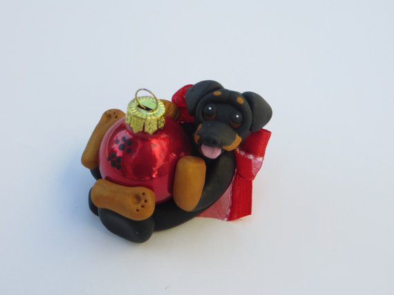 Miniature Pinscher Doberman dog Christmas Ornament Figurine Polymer Clay by HeartOfClayGirl