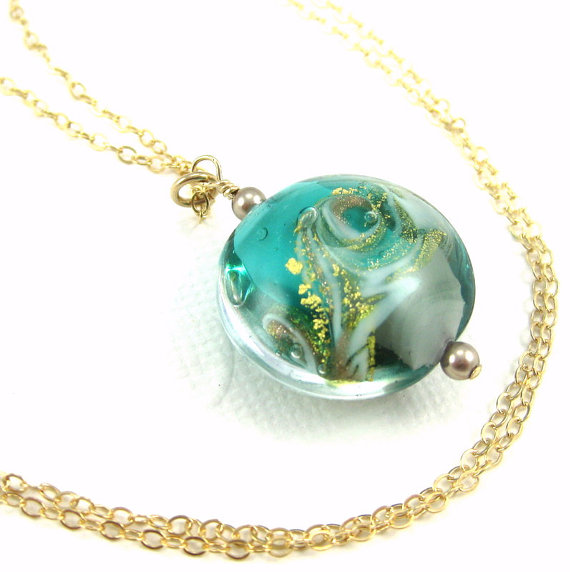 Ocean necklace, Ocean wave necklace, Beach jewelry gift, Sea Green Gold Murano Glass Pendant, Venetian Glass Necklace, Nautical pendant by JewelrybyDorothy